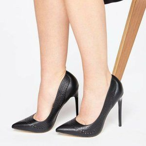 Just Fab Black Faux Leather Pumps High Heels Point